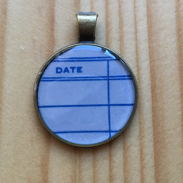 Book Lover Necklace -- Date (blue)