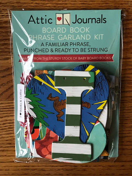 Board Book Phrase Garland Kit I Heart BOOKS & COFFEE