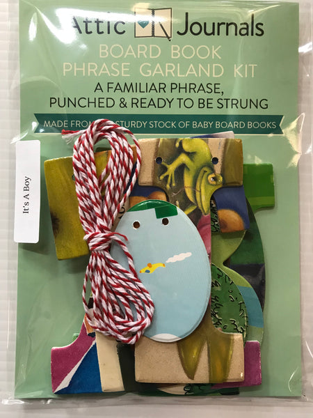Board Book Phrase Garland Kit IT'S A BOY