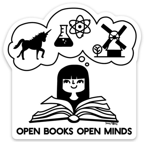 Vinyl Sticker -- Open Books Open Minds