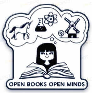 1 Enamel Pin -- OPEN BOOKS OPEN MINDS -- 2018 Design