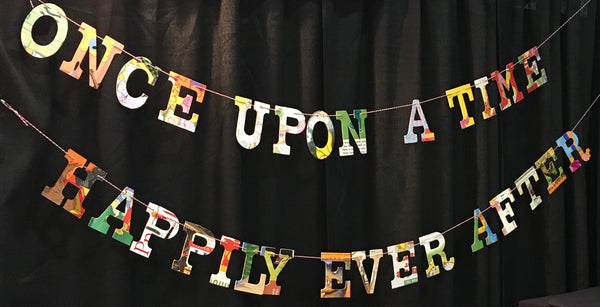 ONCE UPON A TIME /HAPPILY EVER AFTER BOARD BOOK GARLAND -- Book Themed Wedding Dual Garland