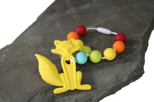 Finny The Fox Teething Toy w/ Attachable Tether (Yellow & Rainbow)