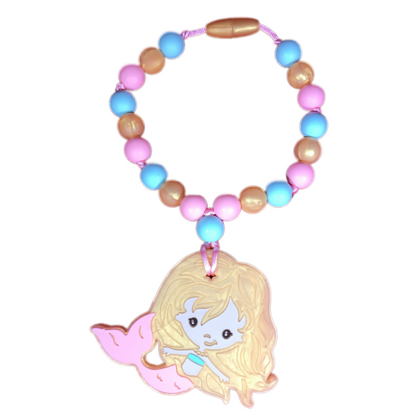 Melody The Mermaid Teething Toy w/ Attachable Tether (Gold, Mint, Pink)