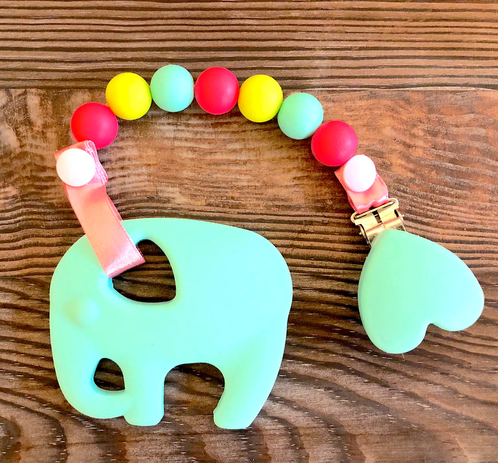 Ellie The Elephant Toy w/ Tri-Clip (Turquoise, Green, Pink)