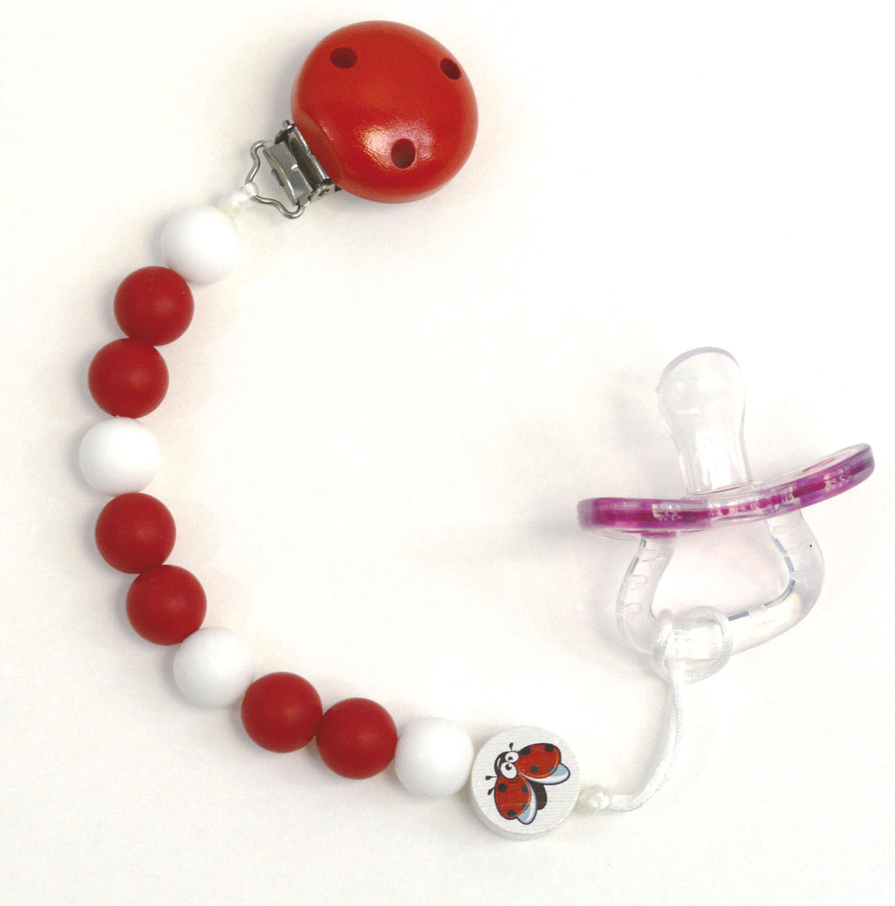 GUMEEZ TRI PACIFIER CLIP LADYBUG - RED & WHITE