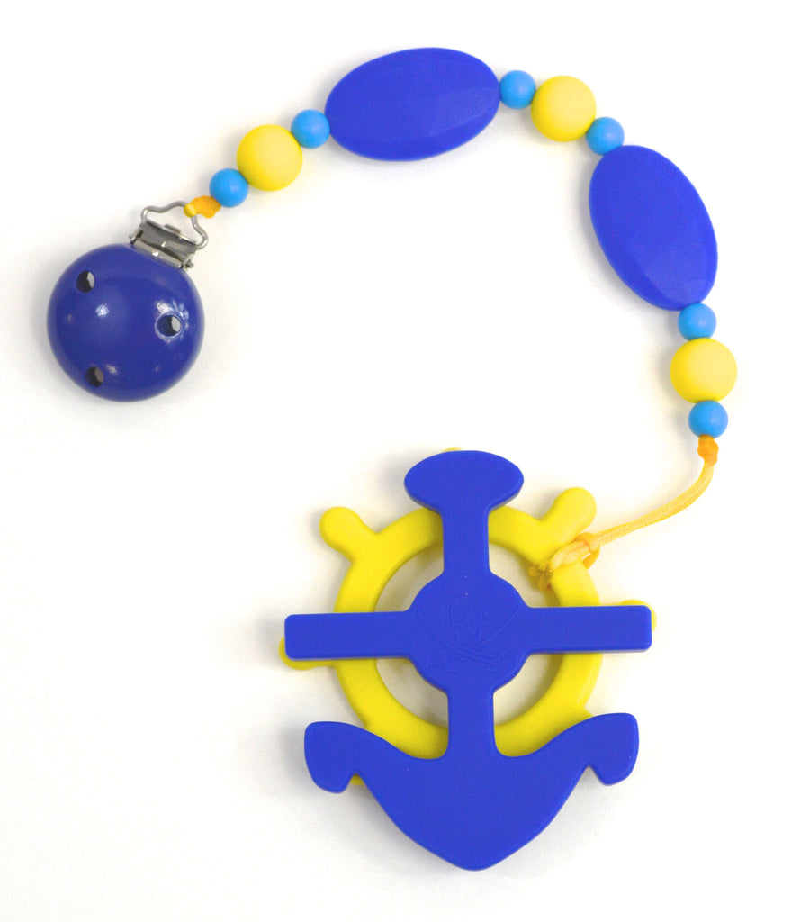 GUMEEZ TRI PACIFIER CLIP & ANCHOR PUZZLE SET - BLUE & LEMON