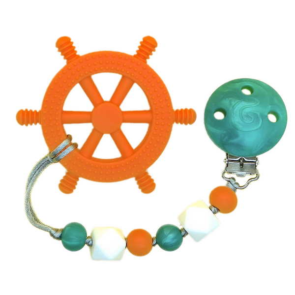 'Yacht Rocker' Teething Toy w/ Beaded Pacifier Clip (assorted colors)
