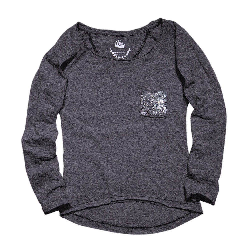 Sequin T-Shirt - Charcoal