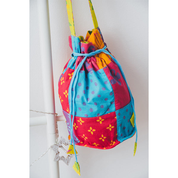 Drawstring Patchwork Sling Bag