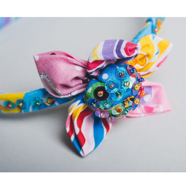 Hair Band - Sequin Flower Stripe Blue