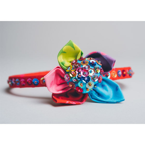 Hair Band - Sequin Flower Red