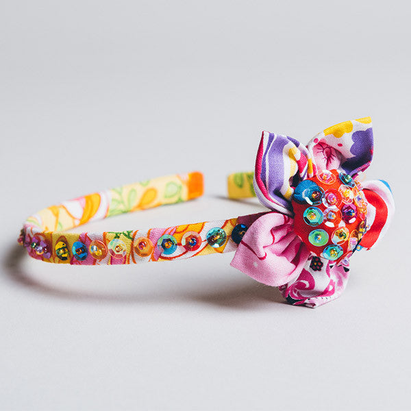 Hair Band - Sequin Flower Stripe Lemon
