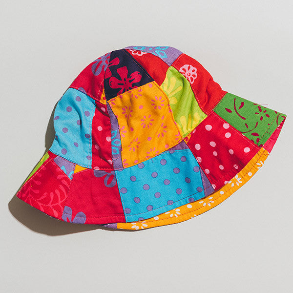 Hat - Patchwork Red with Ribbon