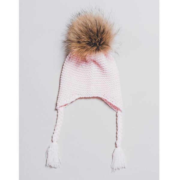 Kids Knitted Hat with Fur Pompom -