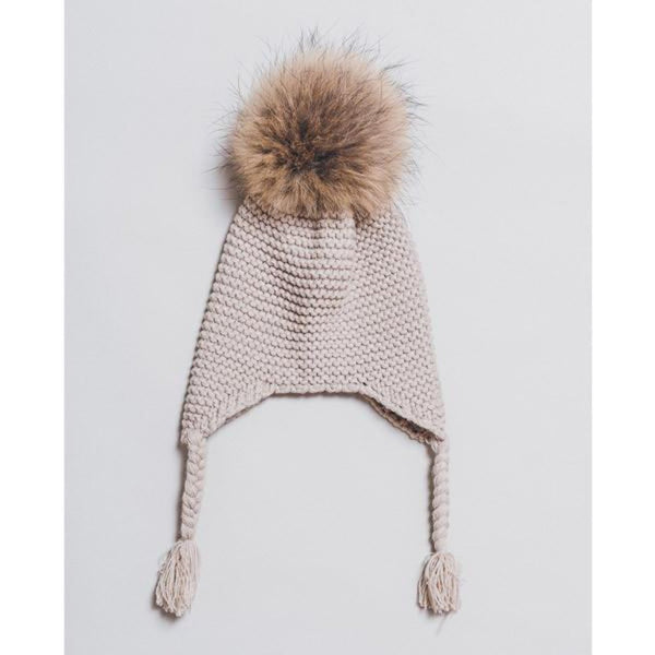 Kids Knitted Hat with Fur Pompom