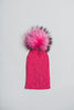 Winter Knitted Hat with Fur Pompom - Hot pink