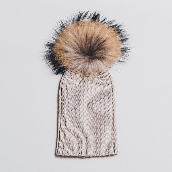 Winter Knitted Hat with Fur Pompom - Beige