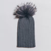 Winter Knitted Hat with Fur Pompom - dark grey