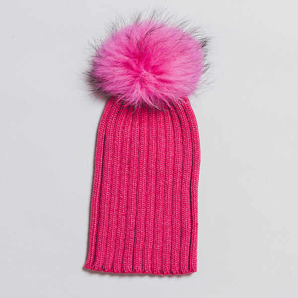 0af0a227bde Winter Knitted Hat with Fur Pompom - Hot pink – Senang Kids