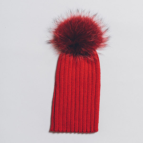 Winter Knitted Hat with Fur Pompom - Red