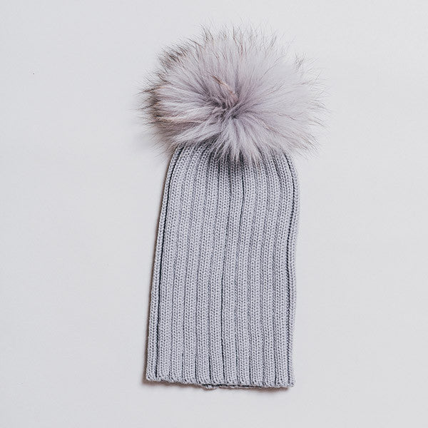 Winter Knitted Hat with Fur Pompom - Light Grey