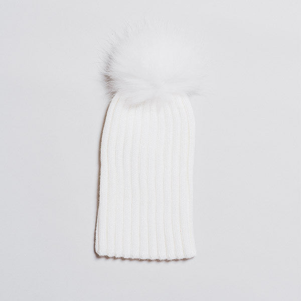 Winter Knitted Hat with Fur Pompom