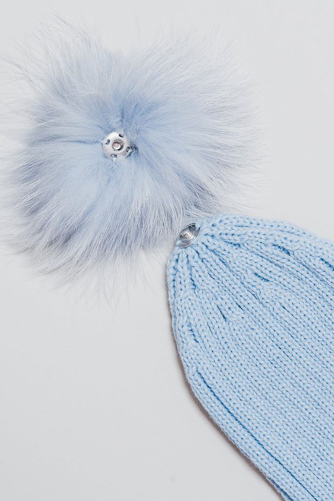 Winter Knitted Hat with Fur Pompom - baby blue