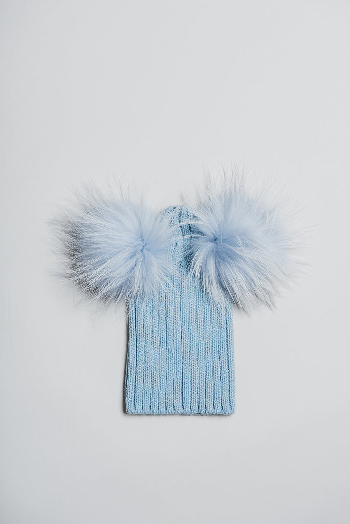 Winter knitted hat with double fur pom pom - baby blue