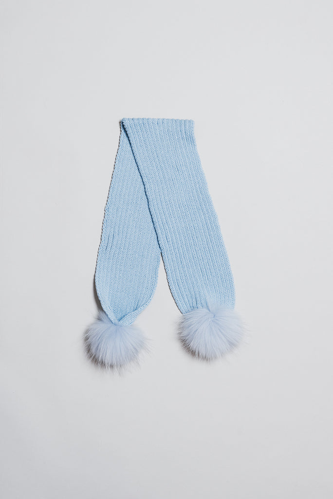 Scarf with detachable pom pom - baby blue