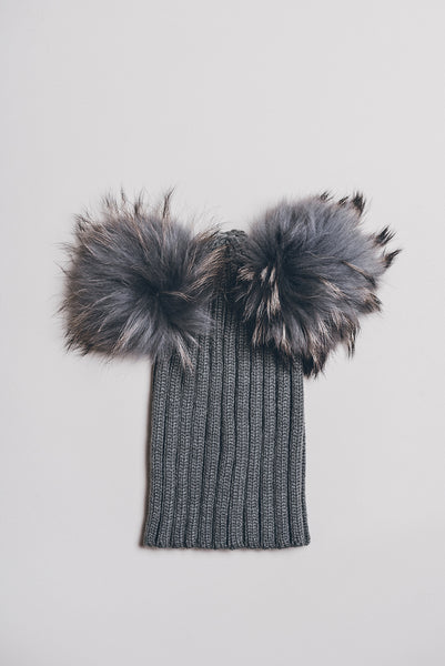 Winter knitted hat with double fur pompom - dark grey