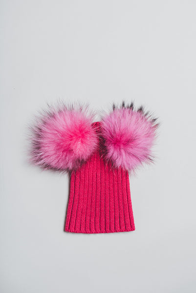 Winter knitted hat with double fur pompom - hot pink