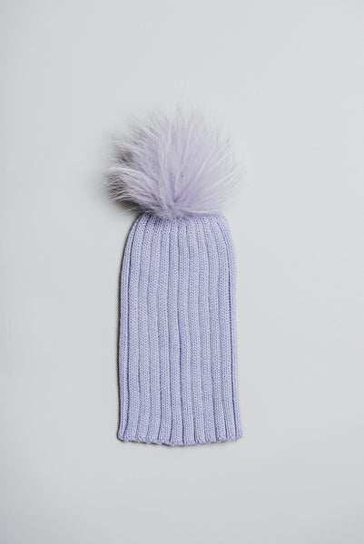 Winter knitted hat with fur pompom - lavender
