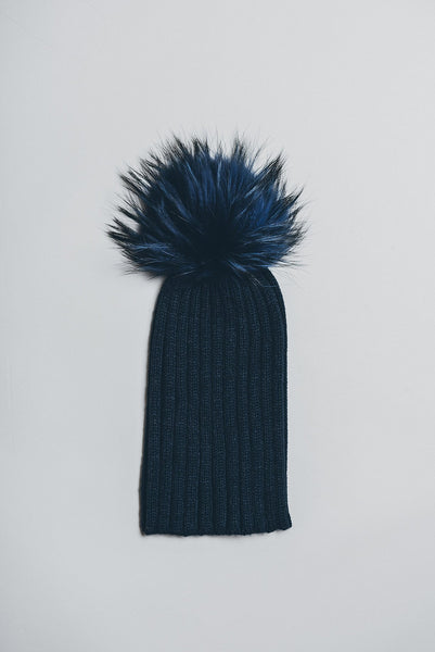 Winter Knitted Hat with Fur Pompom - Navy