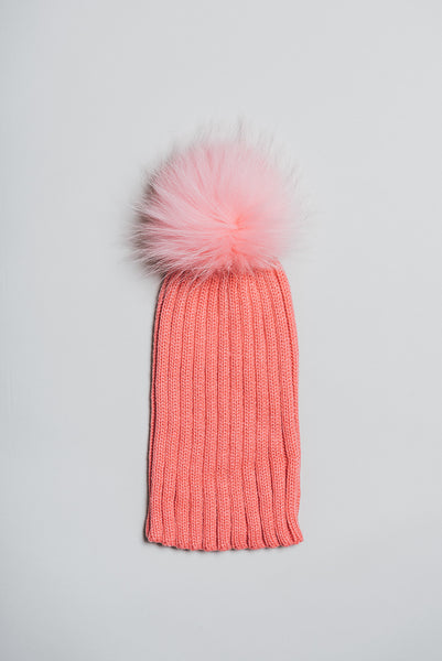 Winter knitted hat with fur pom pom - peach