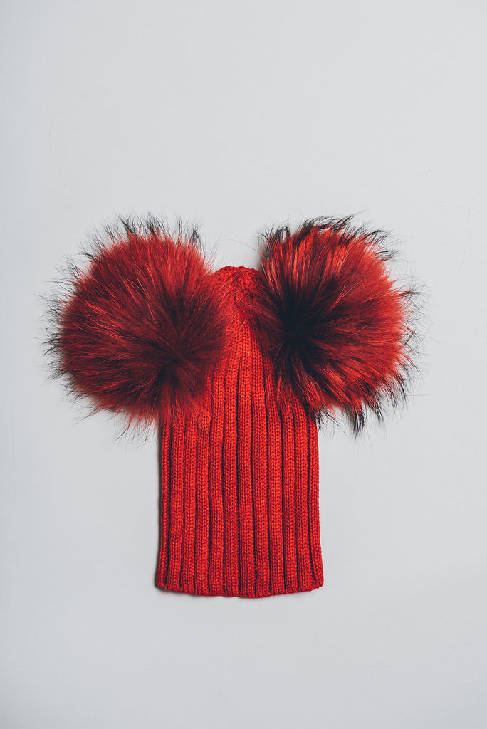 Winter knitted hat with double fur pom pom - red