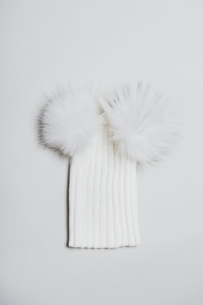 Winter knitted hat with double fur pompom - white