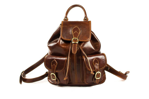 Allesia Italian Leather Classic Backpack