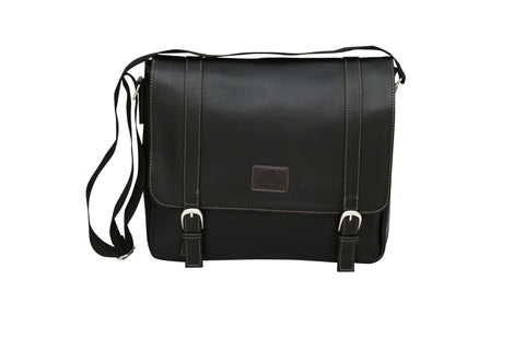 Tassia Pu Leather Twin Buckle Laptop Messenger Bag