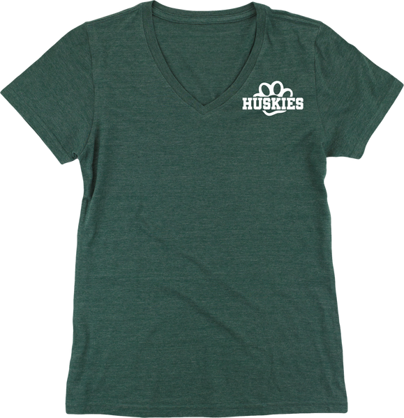 Huskies Tri-blend V-Neck Ladies Tee