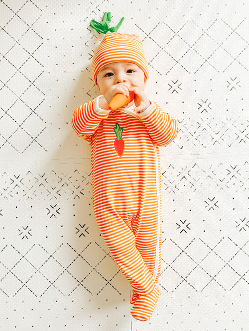 Side Snap Footie - Orange Stripe w/ Carrot Embroidery