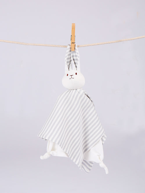 Lovey Bunny Blanket Friend - Grey Stripe