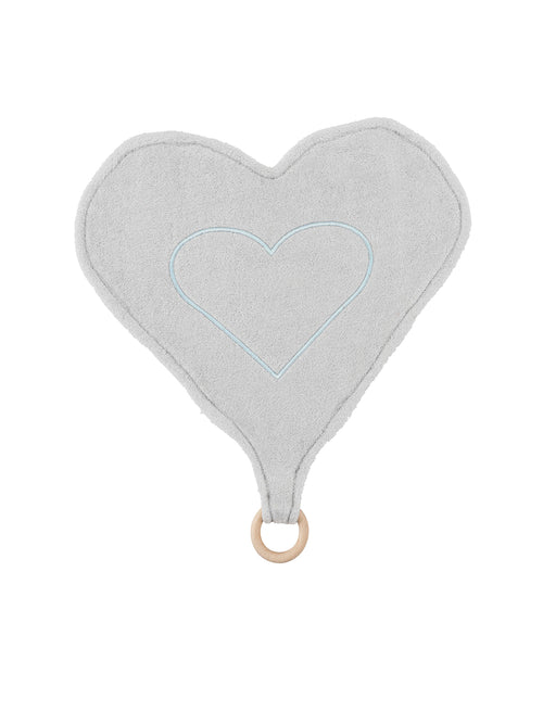 Heart Lovey Teething Toy - Grey and White