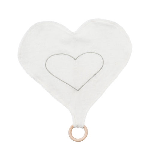 Heart Lovey Teething Toy - White and Grey Stripe
