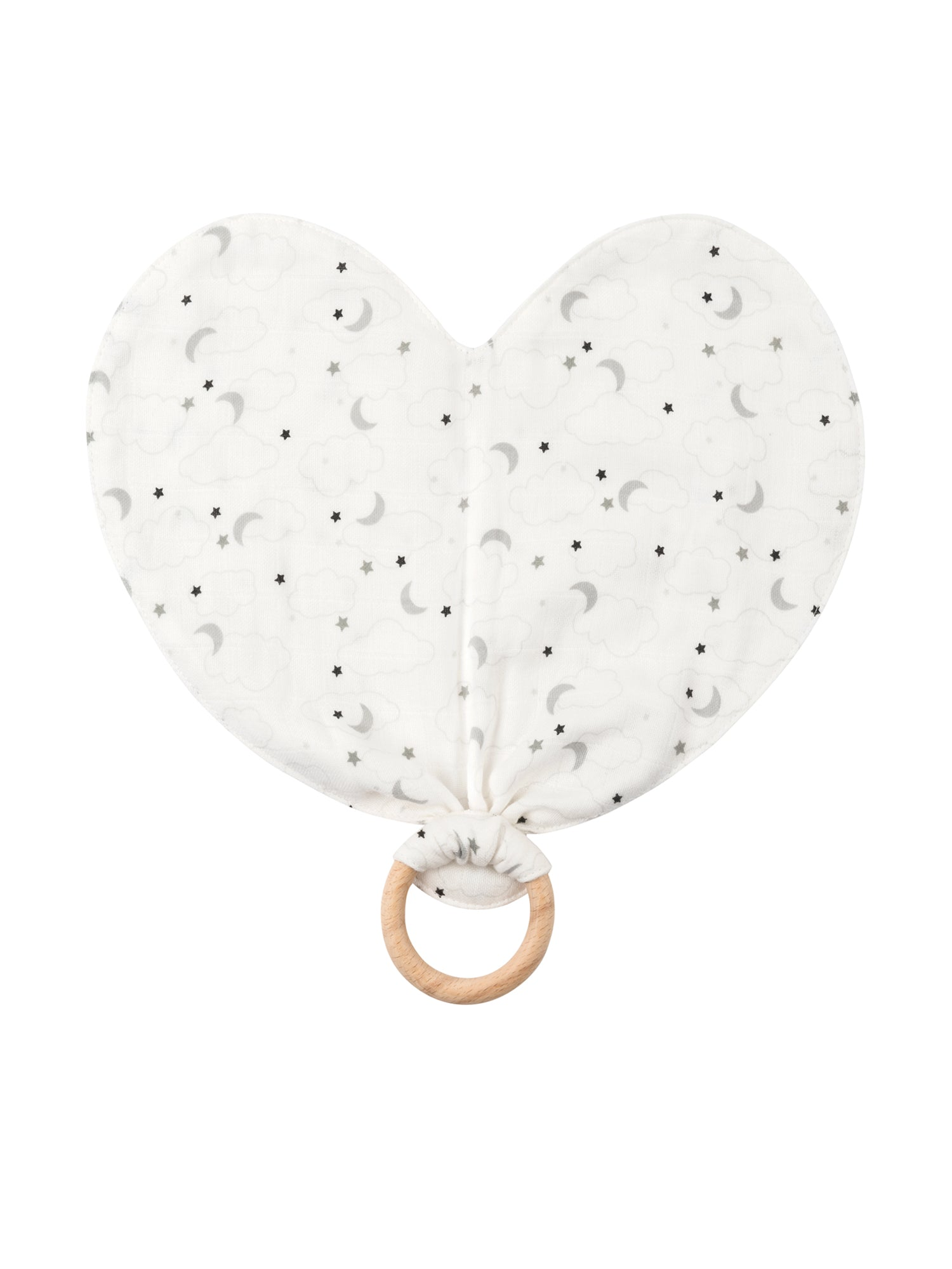 Heart Lovey Teething Toy - Grey Muslin Starry Night at 15% off