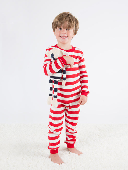 Baby Long Johns with Red Stripe 100% Organic Cotton