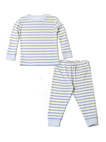 Lap Shoulder Romper - Pale Blue Stripe