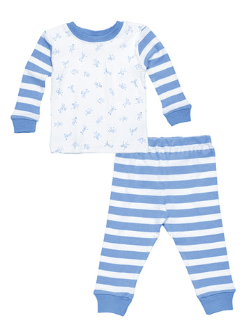 Baby Long Johns - Navy Rugby Stripe