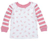 Baby Long Johns top with pink stripes and Little Girl People print