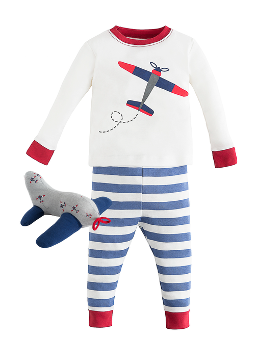 Holiday Plane Long Johns & Airplane Plush Toy Gift Set